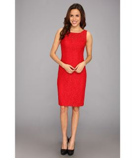 Anne Klein Rose Lace Fit Flare Layered Dress Womens Dress (Red)