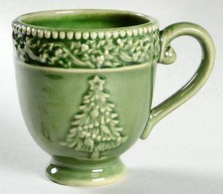 Cracker Barrel Peace On Earth Mug, Fine China Dinnerware   All Green,Embossed,Ch