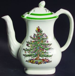 Spode Christmas Tree (Green Trim) Coffee Pot & Lid, Fine China Dinnerware   Olde
