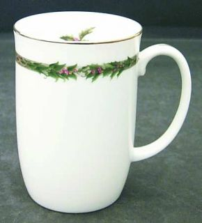 Department 56 Christmas Classic Mug, Fine China Dinnerware   Holly And Brown Wov