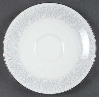 Heinrich   H&C Flair Saucer, Fine China Dinnerware   Gray Border Decor, Platinum