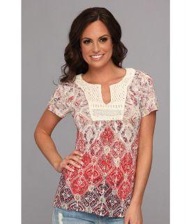 Lucky Brand Calabasas Crochet Top Womens T Shirt (Red)