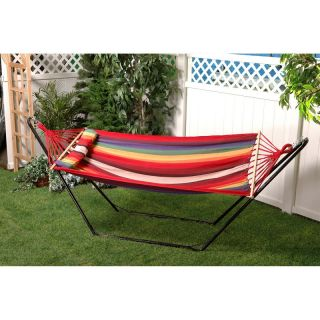Bliss Hammocks Oversized Fabric Hammock with Spreader Bar and Pillow Country