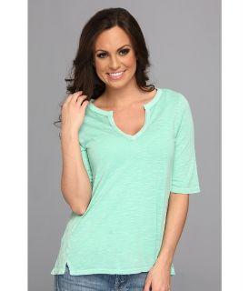 Lucky Brand Calistoga Crochet Top Womens Short Sleeve Pullover (Blue)