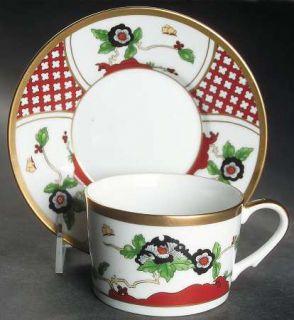 Christian Dior Chinese Flowers Flat Cup & Saucer Set, Fine China Dinnerware   Ru