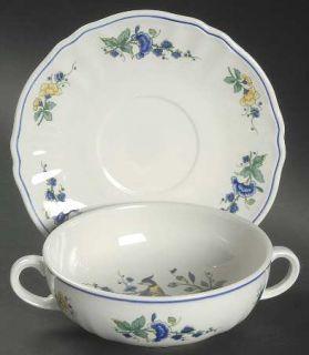 Villeroy & Boch Phoenix Blau (No Paneled Rim) Flat Cream Soup Bowl & Saucer Set,
