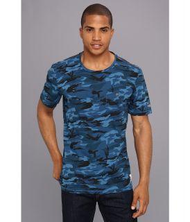 Fresh Brand Chest Printed Fancy V Neck Tee Mens T Shirt (Blue)