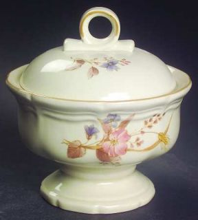 Mikasa Golden Sky Sugar Bowl & Lid, Fine China Dinnerware   Heritage,Pink,Blue F
