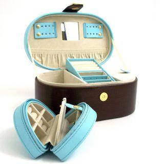 Bey Berk International Blue & Brown Leather Oval Travel Jewelry Box   9.75W x 4.