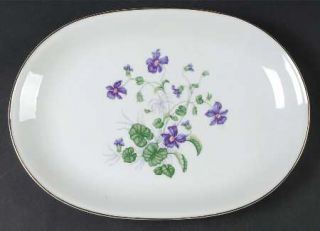 Heinrich   H&C Violet 13 Oval Serving Platter, Fine China Dinnerware   Violets,