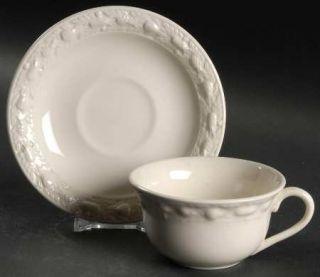 Adams China Della Robia Off White (Micratex) Flat Cup & Saucer Set, Fine China D