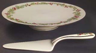 Lenox China Williamsburg Boxwood & Pine Cake Plate and Server (Boxed Set), Fine