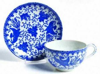 Japan China Phoenix Bird Flat Cup & Saucer Set, Fine China Dinnerware   Blue Pho