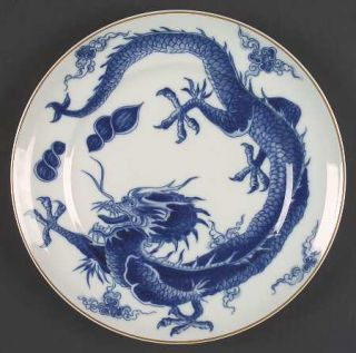 Mottahedeh Blue Dragon (Brown Trim) Dinner Plate, Fine China Dinnerware   Dark B