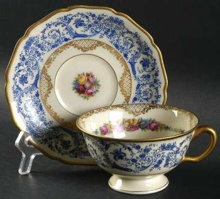 Black Knight Margarite Footed Cup & Saucer Set, Fine China Dinnerware   Blue Scr