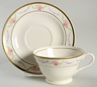 Edwin Knowles Garland Footed Cup & Saucer Set, Fine China Dinnerware   Pink Rose