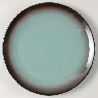 Home Thira Teal Dinner Plate, Fine China Dinnerware   Teal Center, Metallic Brow