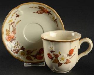 Metlox   Poppytrail   Vernon Autumn Berry Flat Cup & Saucer Set, Fine China Dinn
