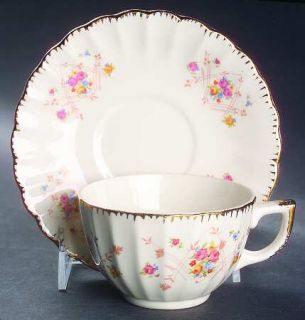 Limoges American New Princess (Scalloped,Gold Trm) Flat Cup & Saucer Set, Fine C