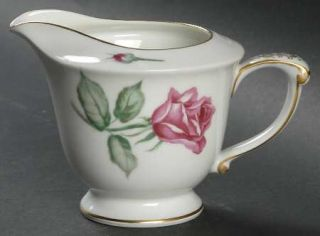 Wentworth Rosita Creamer, Fine China Dinnerware   Red Roses, Rim Shape Gold Trim