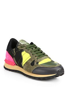 Valentino Camouflage Print Leather Sneakers