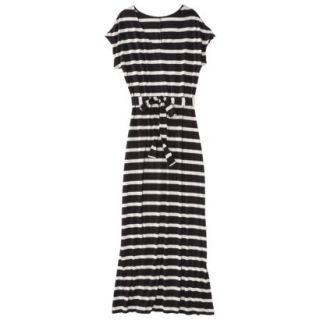 Merona Petites Short Sleeve V Neck Maxi Dress   Black/Cream XSP