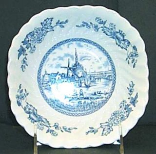 Johnson Brothers Tulip Time Blue (White Background) Square Cereal Bowl, Fine Chi