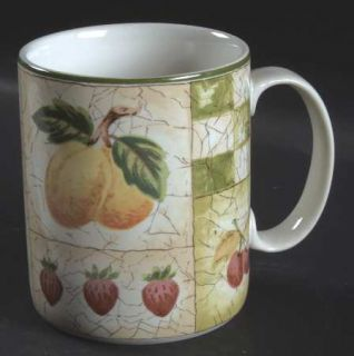 Coventry (PTS) Decoupage Mug, Fine China Dinnerware   Fruit, Green Checks On Rim