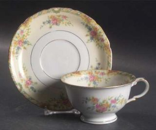 Black Knight Leonora Footed Cup & Saucer Set, Fine China Dinnerware   Green,Tan