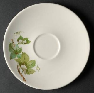 Edwin Knowles Grapevine Saucer, Fine China Dinnerware   Green/Gray Grape Leaves,