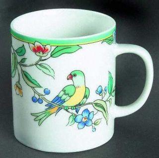 Woodmere Paradiso Mug, Fine China Dinnerware   Tropical Flowers &  Birds,Green B