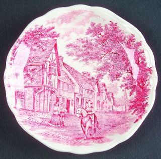 J & G Meakin Romantic England Red Coaster, Fine China Dinnerware   Red Scenes,Wh