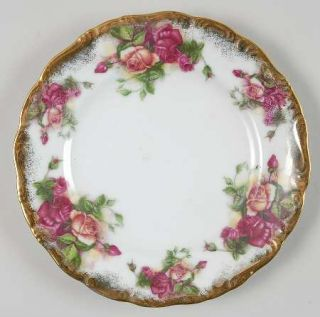 Royal Sealy Rsy5 Salad Plate, Fine China Dinnerware   Pink&Yellow Roses,Embossed