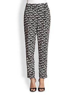 Diane von Furstenberg Atlas Silk Pants   Jungle Black