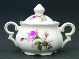 Royal Sealy Moss Rose Sugar Bowl & Lid, Fine China Dinnerware   White Background