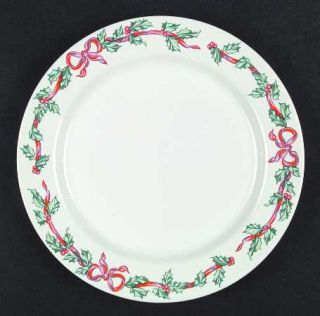 International Christmas Ribbons Dinner Plate, Fine China Dinnerware   Holly,Red