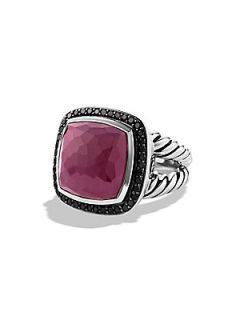 David Yurman Indian Ruby, Black Diamond & Sterling Silver Ring   Silver Ruby