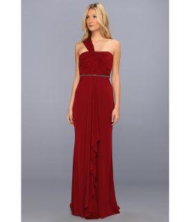 Badgley Mischka One Shoulder Drape Beaded Dress Womens Dress (Red)