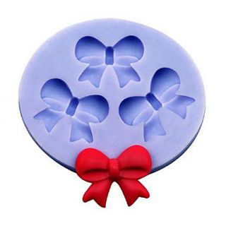 Bowknot Shape Silicone Mold Cake Decoration Set of 3, Random Color