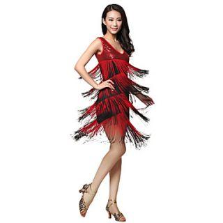 Dancewear Viscose Latin Dance Dress With Tassels For Ladies