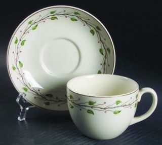 Wedgwood Green Leaf Flat Cup & Saucer Set, Fine China Dinnerware   QueenS Ware,