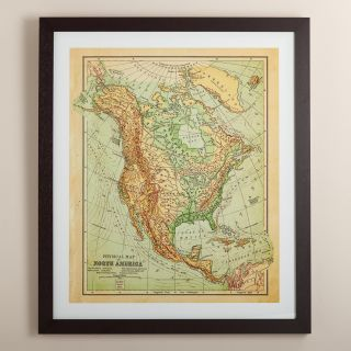 Vintage Style North America Map   World Market