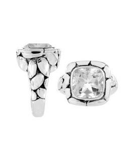 Silver Batu Kali White Topaz Square Ring, Size 7