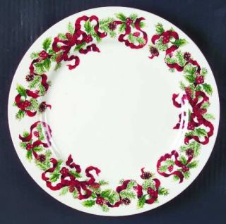 World Bazaars Christmas Ribbon Dinner Plate, Fine China Dinnerware   Red Ribbon,