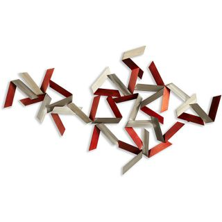 Dynamic Red/ Grey Steel Wall Art