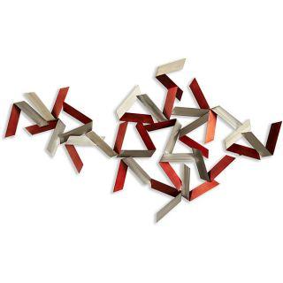 Dynamic Red/ Grey Steel Wall Art