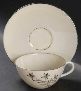 Lenox China Princess Flat Cup & Saucer Set, Fine China Dinnerware   Gray & Tan F