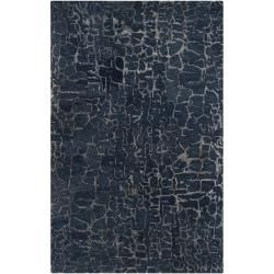 Hand tufted Contemporary Blue Papillion New Zealand Wool Abstract Rug (33 X 53)