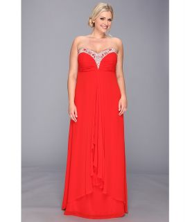 Faviana Plus Size Beaded Sweetheart Strapless Chiffon Gown 9324 Womens Dress (Red)