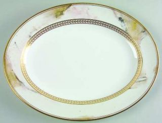 Minton Alabaster & Gold 13 Oval Serving Platter, Fine China Dinnerware   Gold L